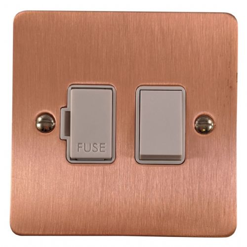 G&H FRG57W Flat Plate Rose Gold 1 Gang Fused Spur 13A Switched